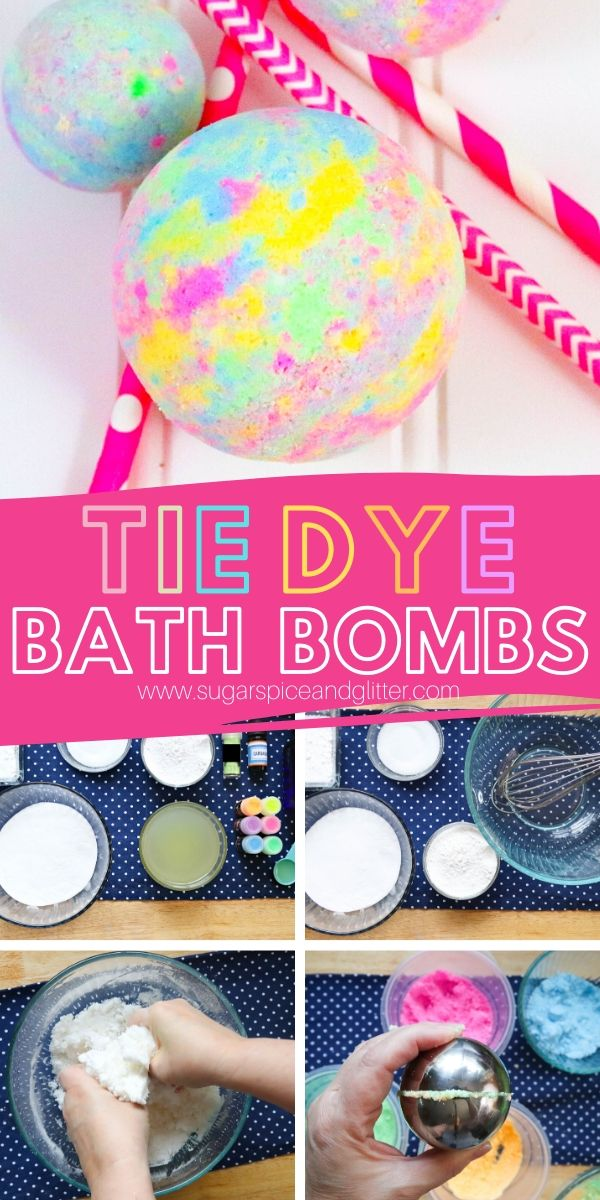 Kids Will LOVE Making these Super Simple Tie Dye Bath Bombs! A soothing, amazing-smelling homemade bath bomb you can customize in so many different ways!
