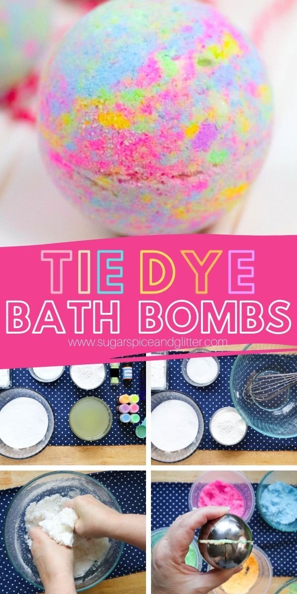 How to make homemade Tie Dye Bath Bombs - a psychedelic bath bomb for summer. Make for yourself or as a homemade gift for a tie dye fan!