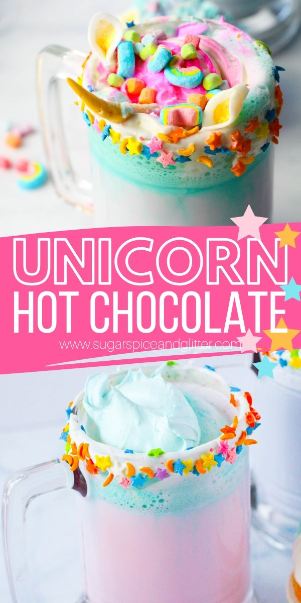 How to make the BEST Unicorn Hot Chocolate in just 5 minutes! These white chocolate hot cocoas are topped with whipped cream, sprinkles, marshmallows and even (optional) homemade unicorn horns and ears. Perfect for slumber parties or unicorn birthday parties