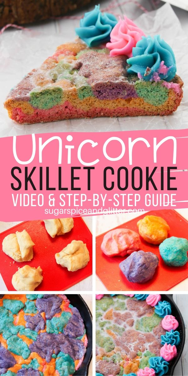 An easy unicorn skillet sugar cookie, perfect for a Unicorn Birthday if the birthday girl isn't a huge fan of cake! This decadent and delicious sugar cookie cake is topped with an iridescent, sparkly vanilla glaze and swirls of melt-in-your-mouth buttercream frosting