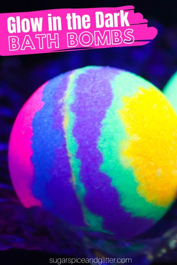 A super simple step-by-step tutorial for how to make GLOW IN THE DARK BATH BOMBS, including a how-to video.