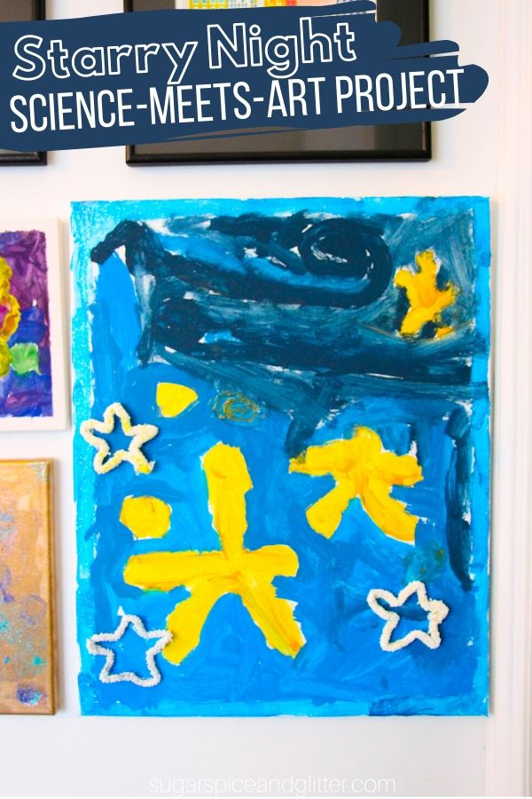 A gorgeous mixed media art project to teach kids about van Gogh, this Starry Night craft for kids incorporates an easy grow-your-own-crystal science experiment that double as gorgeous, sparkly stars in the final art project