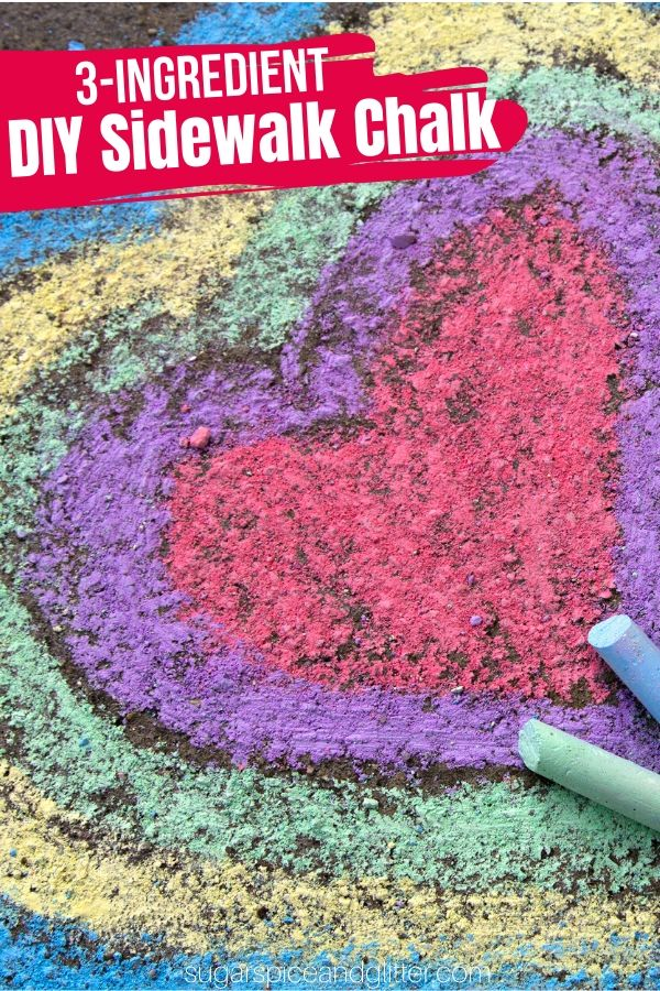 A super simple method for making DIY Sidewalk Chalk - cheaper than buying store-bought and allows you to customize the chalk colors to your children's favorite colors