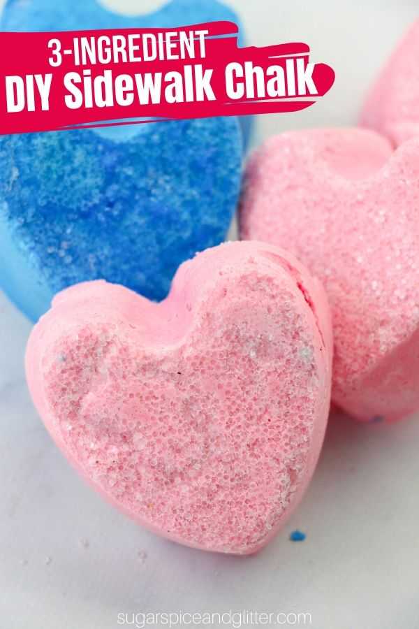 A super simple step-by-step tutorial on how to make DIY sidewalk chalk with just 3 ingredients! A great summer craft for kids or a homemade gift for summer birthday parties