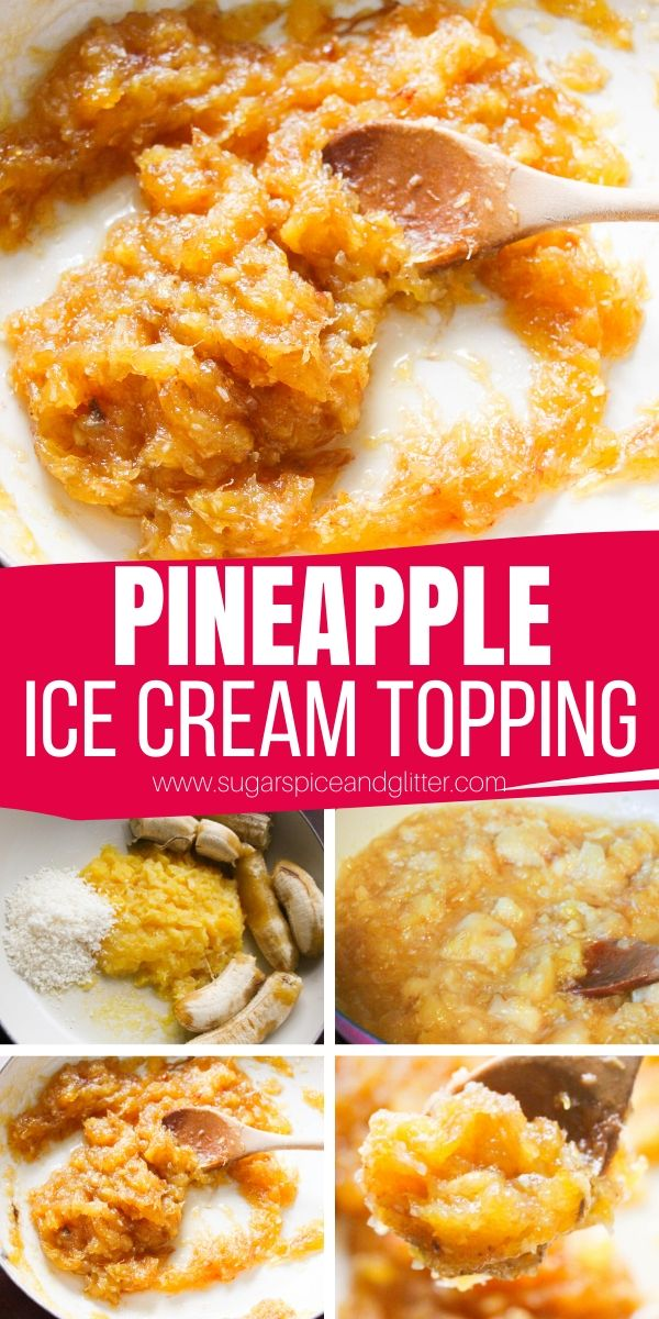 How to make pineapple ice cream topping - also known as monkey butter. This tropical ice cream topping is bursting with flavor and is the perfect addition to ice cream, waffles, croissants - you name it!