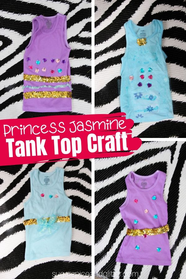 A fun Jasmine Birthday Party craft or just a fun way for kids to customize some cheap tank tops for summer, these Princess Jasmine Tank Tops are a fun way for kids to express their personality - on a budget