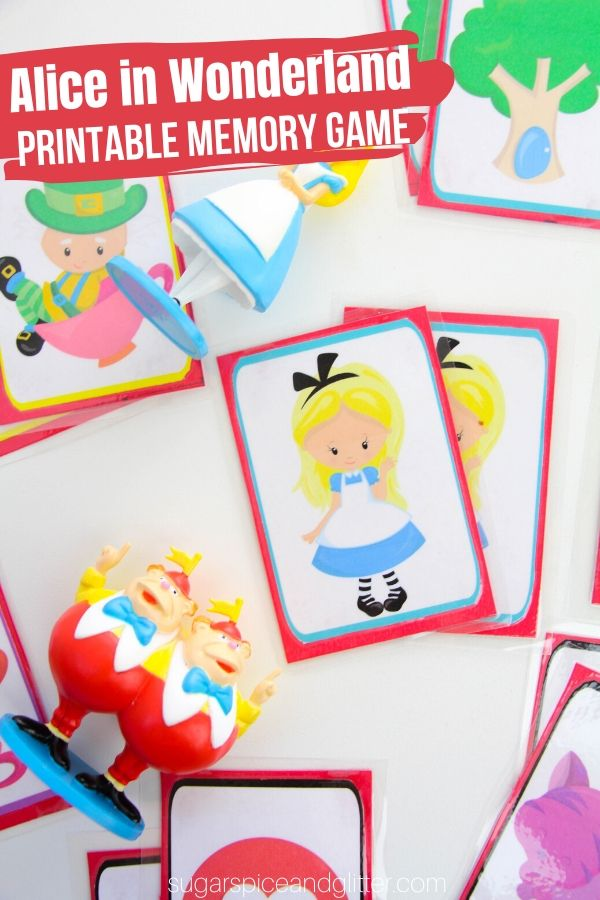 Your Kids Will Love this Free Printable Alice in Wonderland Printable Memory Game - a great addition to a family movie night or a fun free party favor for an Alice in Wonderland party