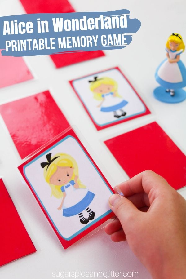 Free Printable Alice in Wonderland Memory Game - perfect for a family movie night or fun quiet time activity for kids. Helps build memory and logic skills