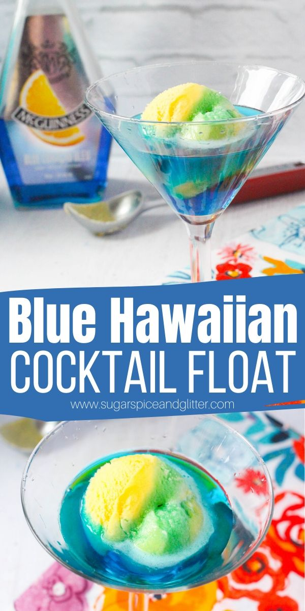 A delicious coconut rum cocktail perfect for summer, this Blue Hawaiian Cocktail Float has all of the flavors of a Blue Hawaiian in a unique party drink