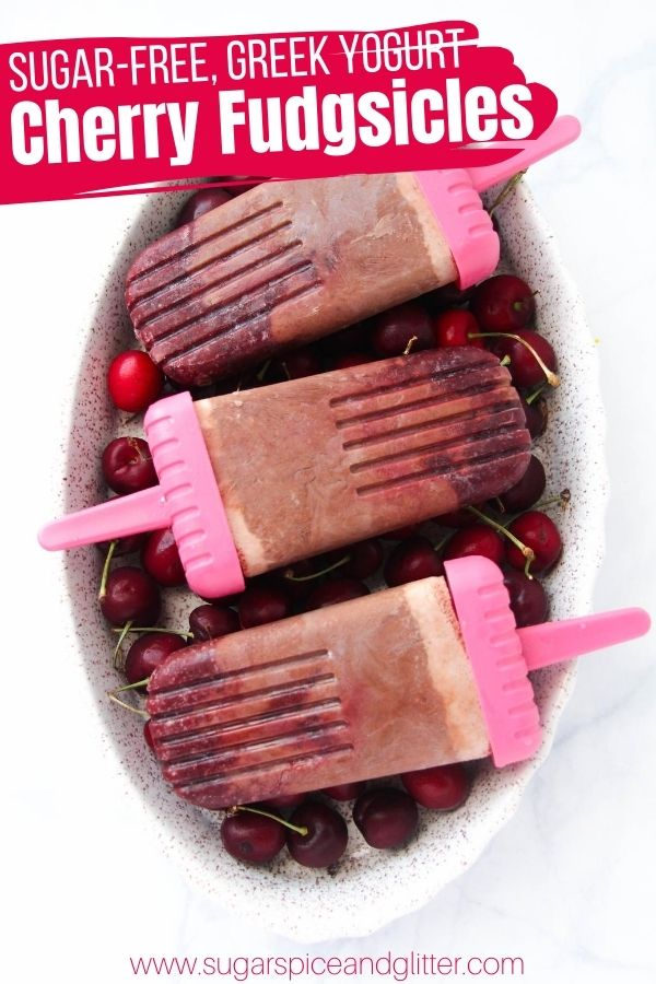 Healthy Cherry Fudgsicles with Greek Yogurt