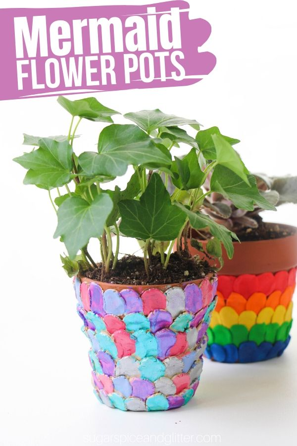 A gorgeous summer mermaid craft for kids, these Mermaid Flower Pots are simple to make and would be a beautiful homemade gift for the mermaid lover or gardener in your life