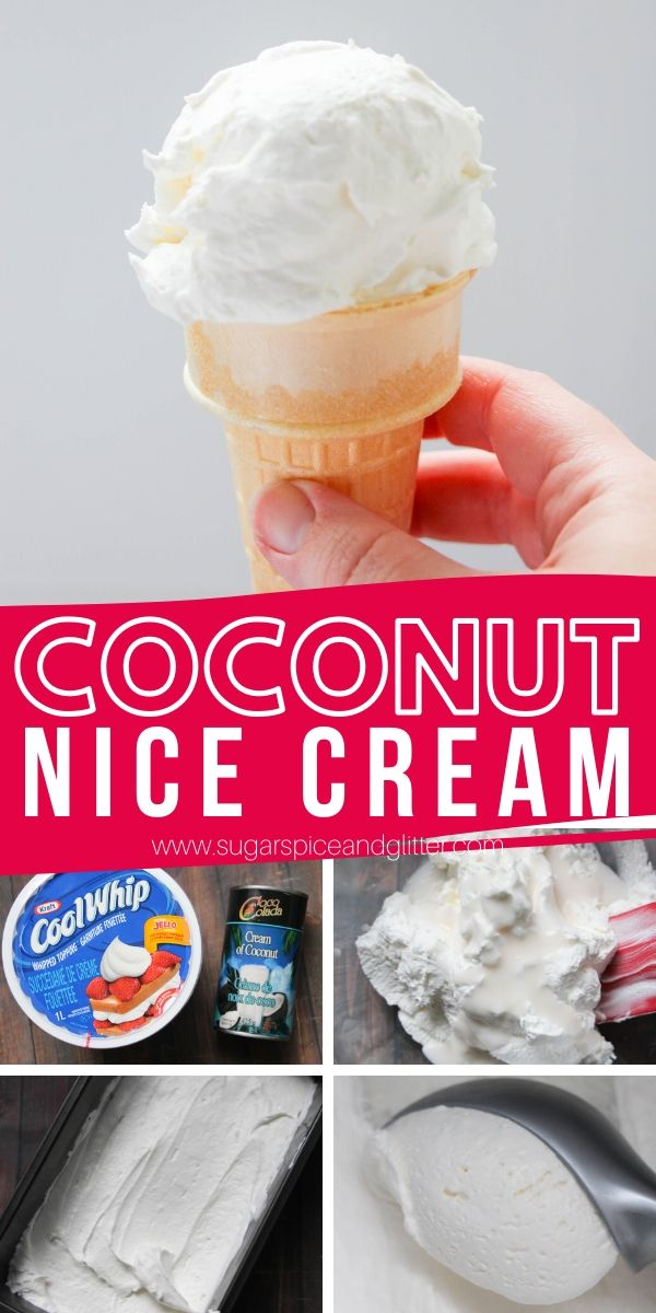 Creamy coconut ice cream with a refreshing coconut flavor, this daiy-free nice cream is just two ingredients and takes literally two minutes of effort to make! The perfect summer dessert for kids to help make