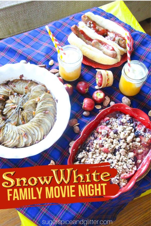 Your family will love this easy Snow White Family Movie Night - a great way to prepare for a Disney family vacation or just bring some Disney magic to your weekend. Includes free printable planner for your Snow White decor, menu and craft planning