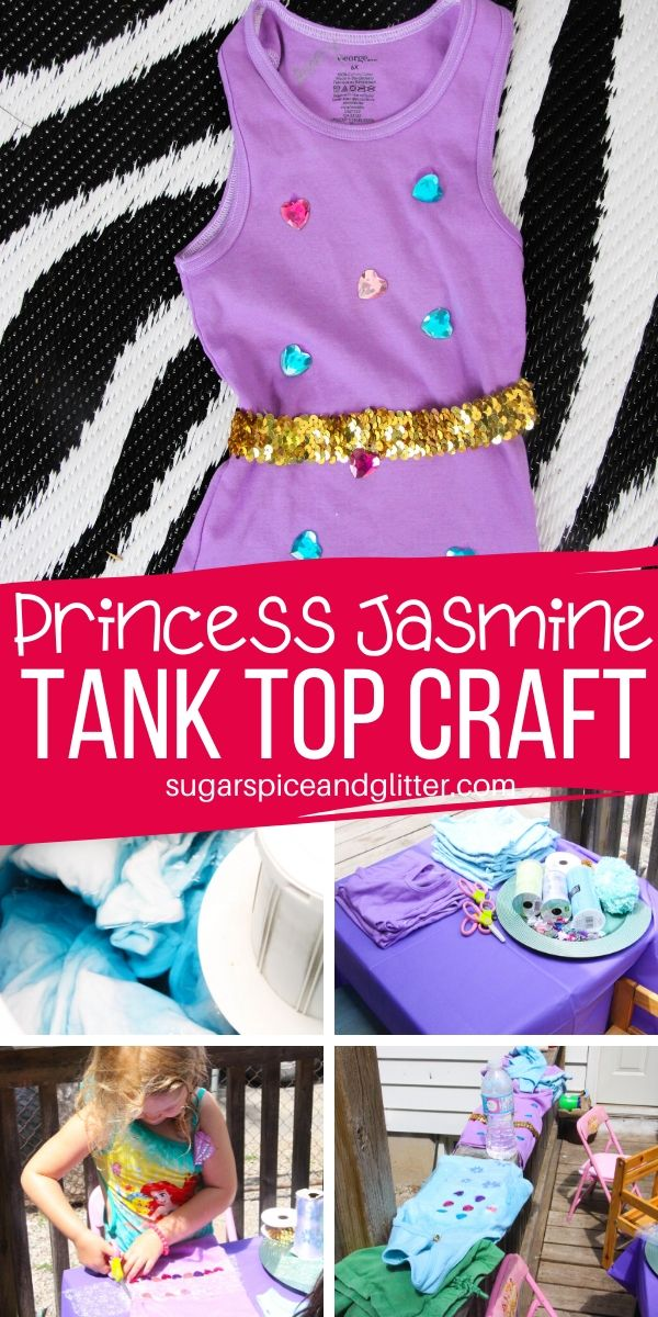 How to set up a Princess Jasmine Tank Top Craft - either for a party or as a fun way to customize some summer clothing, on a budget! Kids will love showing off their bejeweled creations