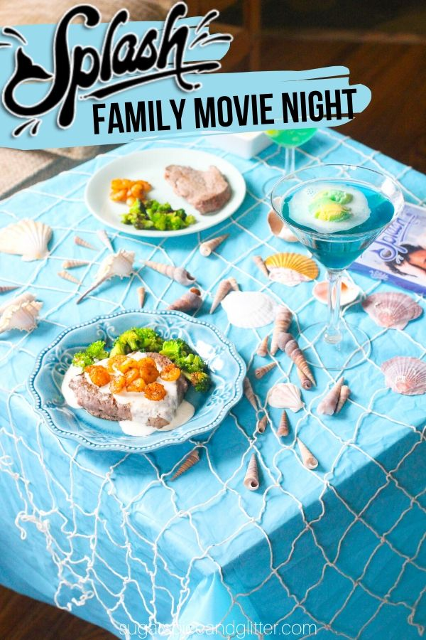 A fun Mermaid Family Movie Night inspired by the Disney movie Splash. This movie night features a mermaid slime, surf and turf main course, easy movie night decor, a fun mermaid party punch and a no-bake mermaid dessert kids can make