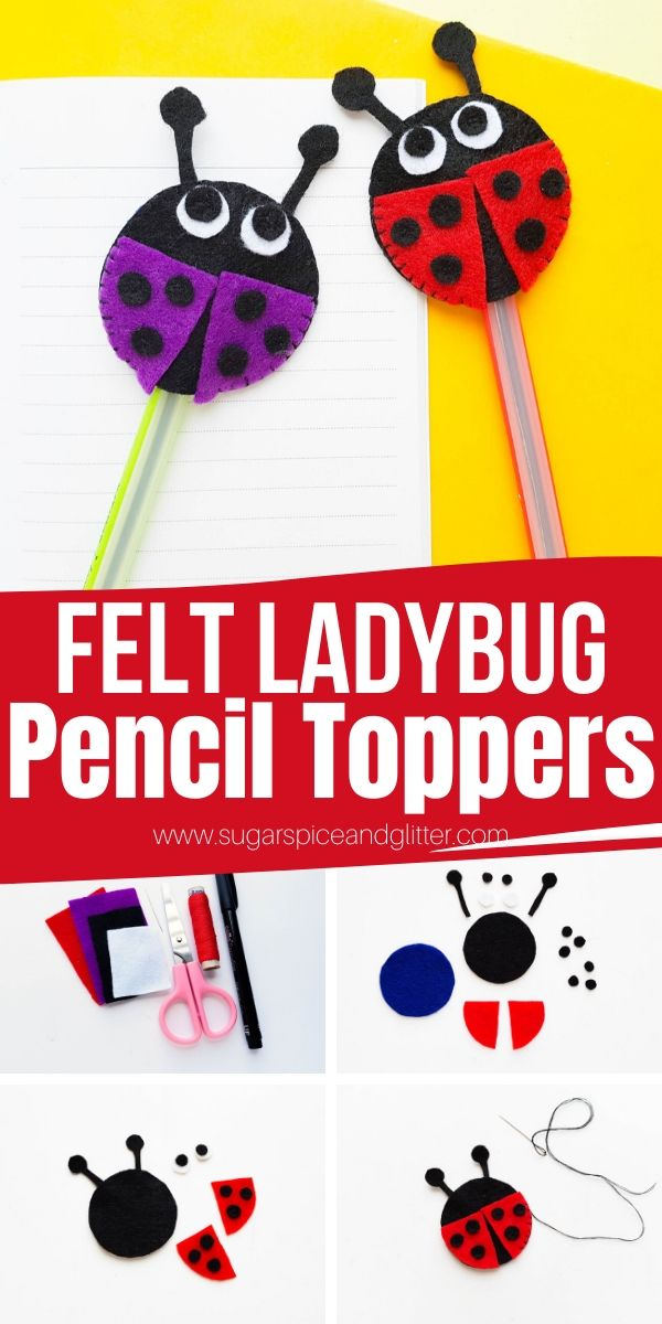 A super simple sewing project for kids, these Felt Ladybug Pencil Toppers are a super cute way to personalize your kids' school supplies. They also make a great homemade gift for someone who loves to write