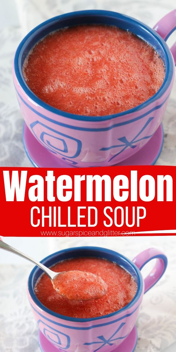A refreshing summer soup recipe, this Chilled Watermelon soup is the perfect light palate cleanser with hints of lemon and mint - or you can add ginger and jalapenos for heat! Inspired by the DisneyWorld classic