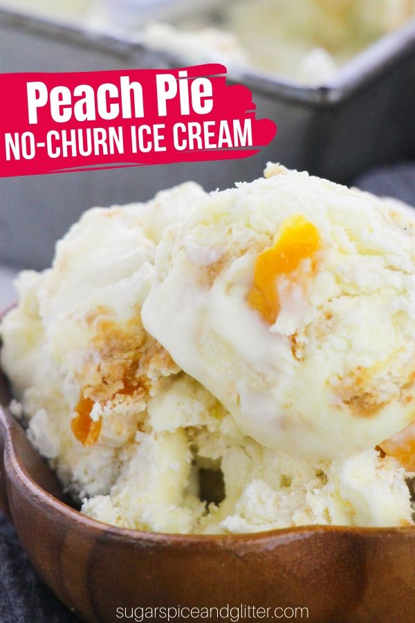 Super Simple Peach Pie Ice Cream - without an ice cream machine! Each scoop of this delicious peach ice cream tastes like peach pie a la mode and is much easier than baking a pie