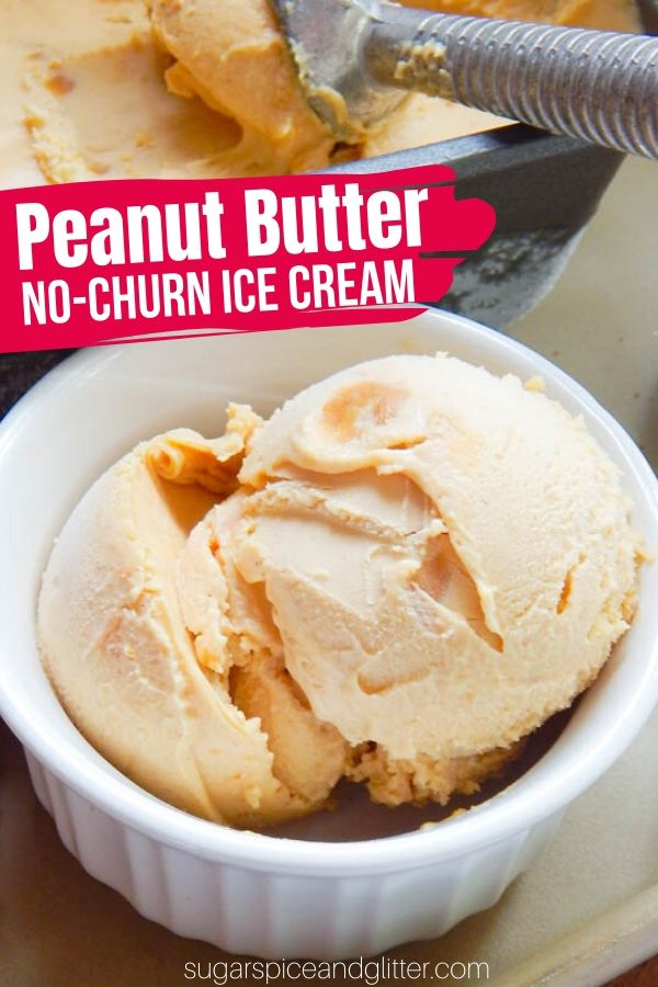 A simple no-churn Ice Cream recipe for true peanut butter fans - this Peanut Butter Ice Cream tastes like a big scoop of frozen peanut butter! Add chocolate chips for a decadent PB Chocolate ice cream
