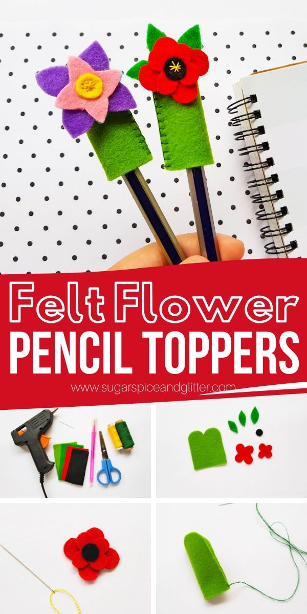 A cute DIY school supply kids can make, these Felt Flower Pencil Toppers also made a cute homemade gift for the writer in your life