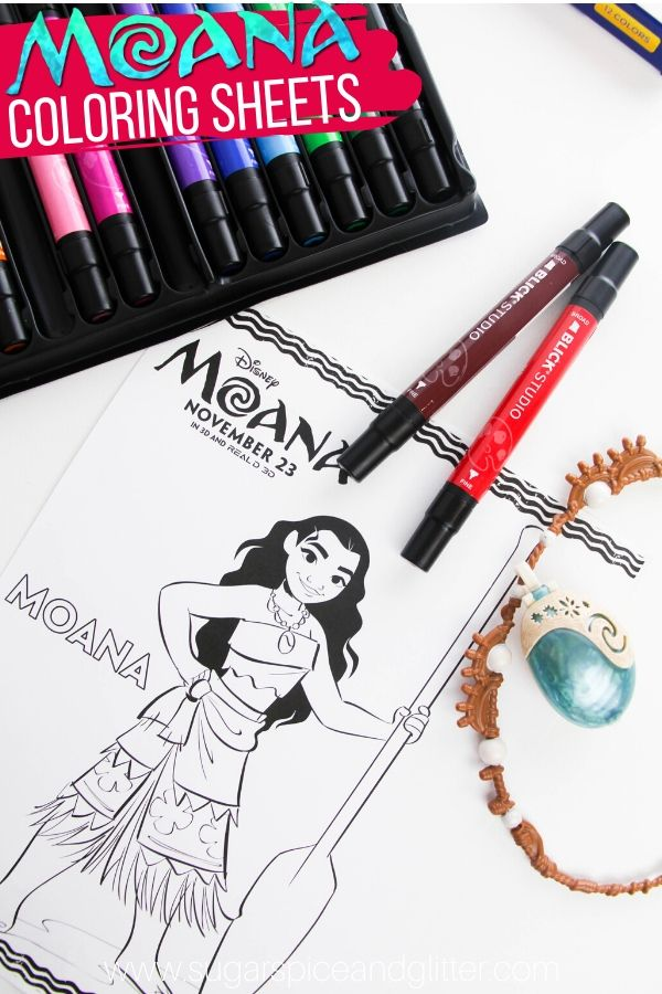 A simple Moana craft idea for kids - these Moana coloring pages are perfect for a Moana family movie night or just a quiet time activity for Moana fans