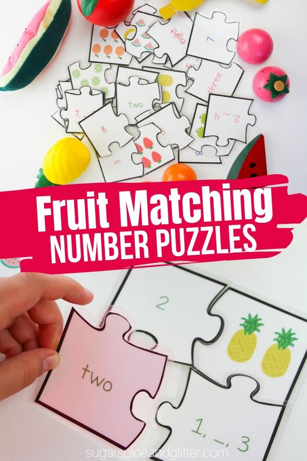A fun printable math activity for kids, these Fruit-themed Math Puzzles teach counting, one-to-one correspondence, number sequencing, and matching written representations of numbers with visual and numerical representations - but the kids will just think it's fun!