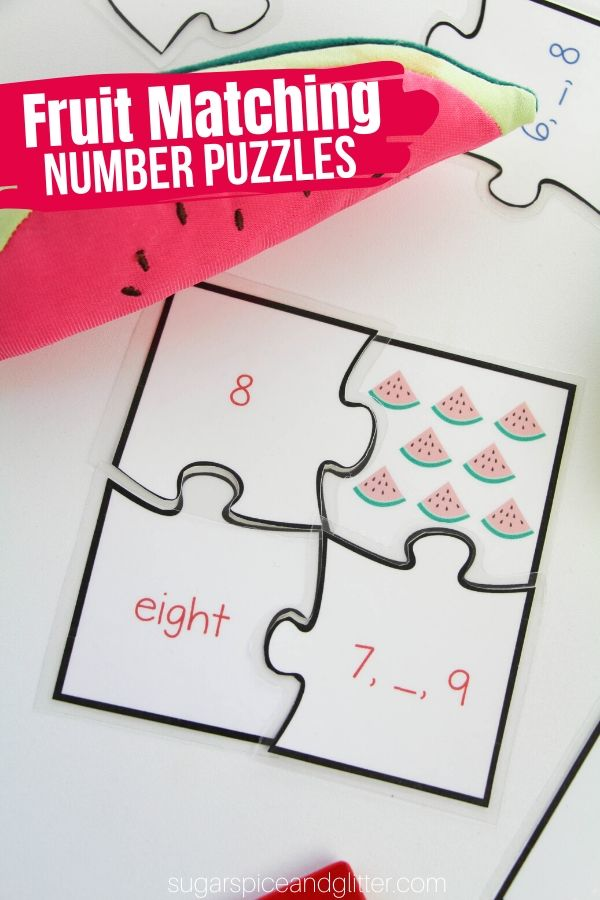 A fun math puzzle for kids from preschool to early elementary, these Fruit Matching Number Puzzles cover a wide range of mathematical concepts - but kids will just think they are fun!