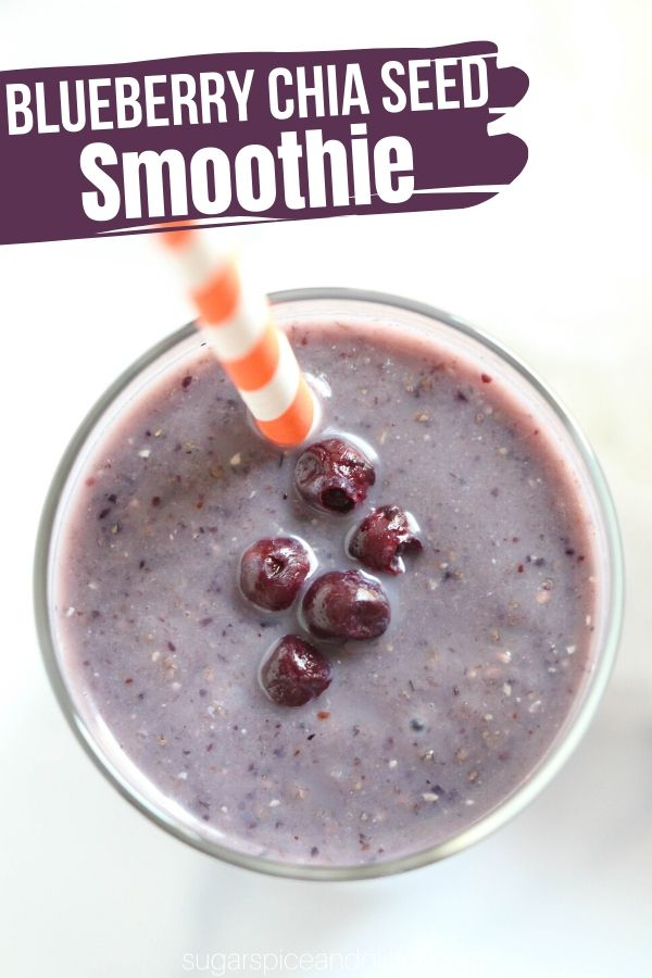 A delicious blueberry chia seed smoothie kids will love. Packed with healthy ingredients and perfect for on-the-go breakfasts or a healthy afternoon snack