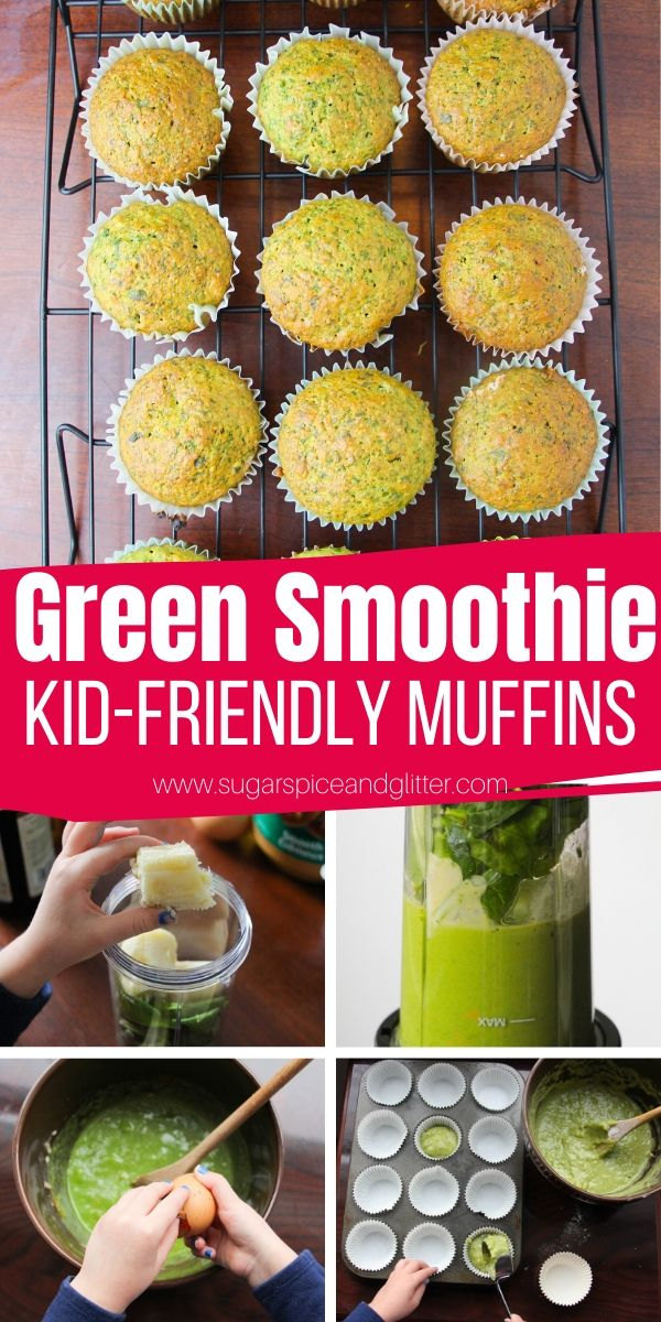 A delicious and healthy green smoothie muffin - a fun way to get kids excited to eat their veggies, this sugar-free muffin is packed with healthy, nutritious ingredients including 4 cups of spinach!