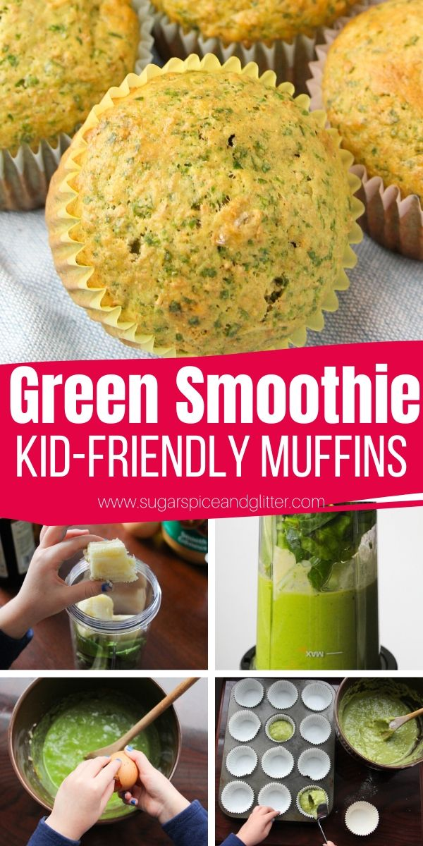 How to make green smoothie muffins - a quick and easy muffin recipe kids can help make. This blender muffin recipe uses a green smoothie as a base to avoid sugar, butter and pack in plenty of nutritious ingredients