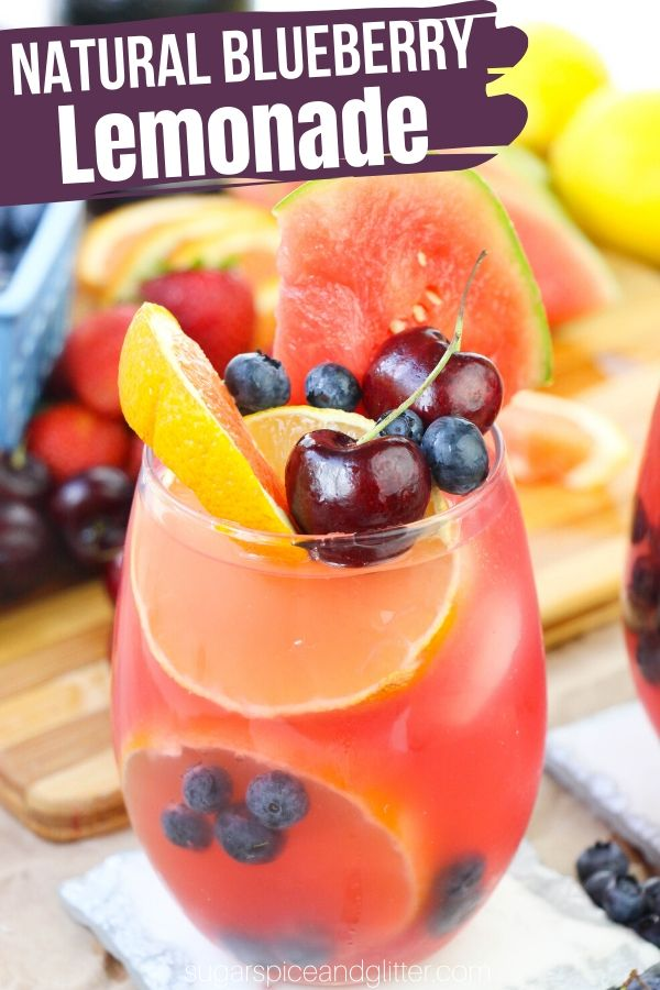 The perfect summer drink recipe - this gorgeous Blueberry Lemonade is made with no sugar thanks to a quick, homemade blueberry syrup. It's a fun and healthy addition to your summer parties