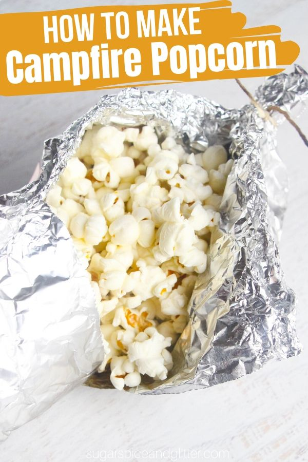 How to make popcorn over a bonfire - a step-by-step tutorial for this fun camping recipe. You can also make it for tailgating or any backyard party