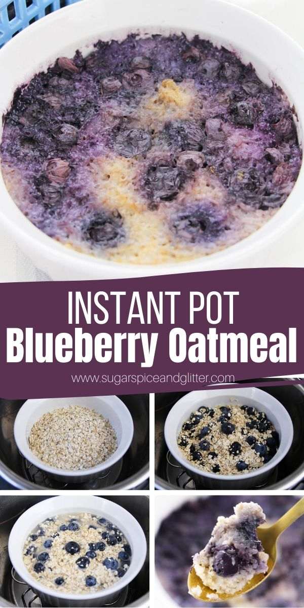 Skip the packets of sugary oatmeal and whip up this Instant Pot Blueberry Oatmeal instead! An easy and comforting Instant Pot Breakfast recipe that is way less messy or attention-requiring than stovetop oatmeal