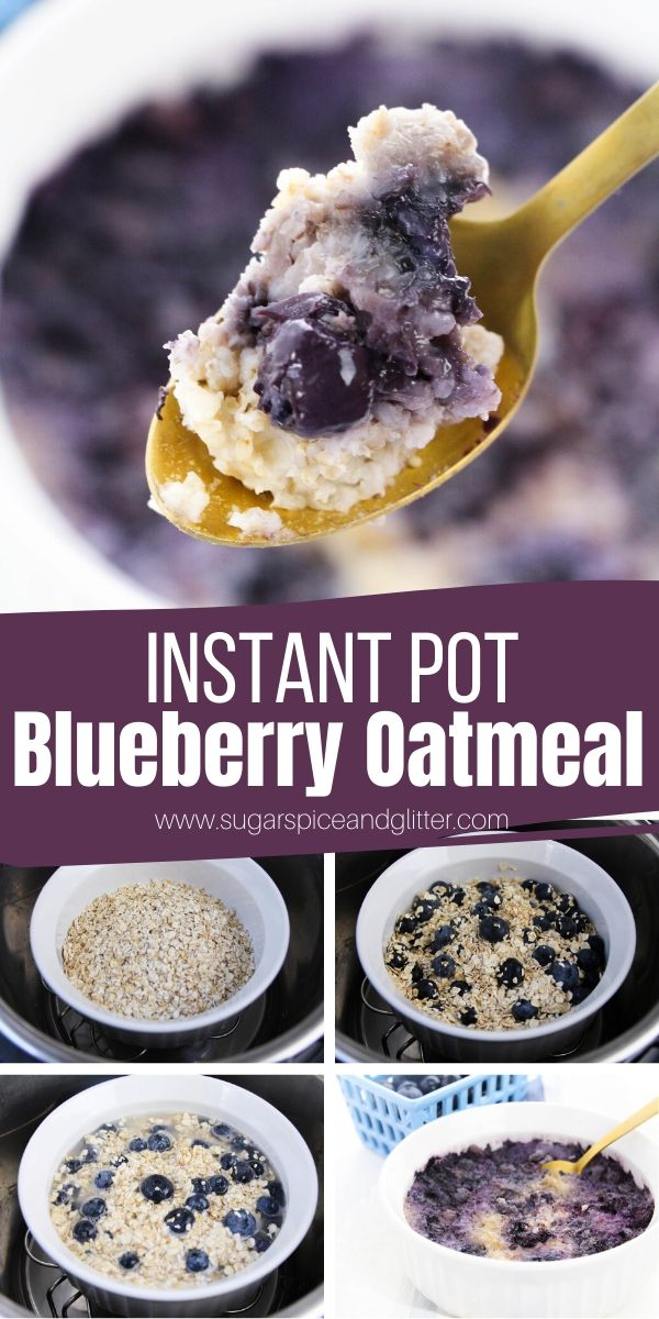 How to make Instant Pot Blueberry Oatmeal with fresh or frozen blueberries. This easy Instant Pot breakfast is so much easier (and less messy) than making it on the stove, allowing you to focus on getting the kids ready on a busy morning