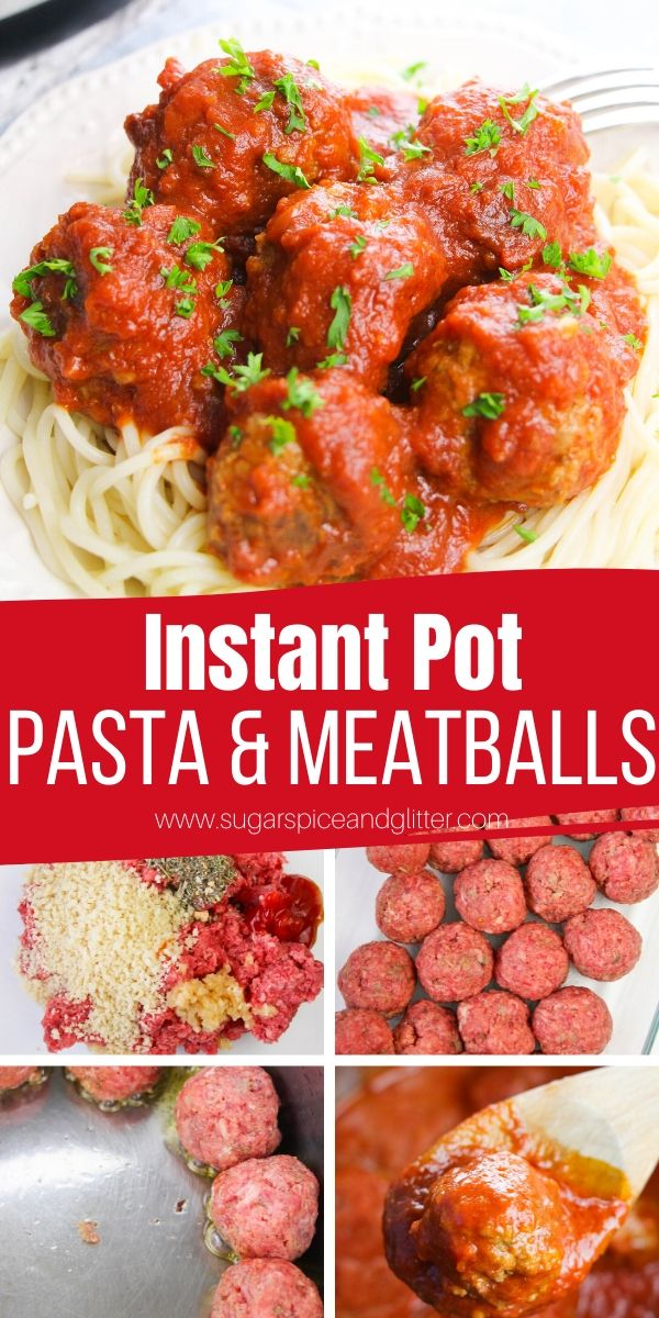 Homemade meatballs and pasta sauce in the instant pot! The perfect 15-minute Instant Pot recipe, these Italian meatballs are tender, juicy and flavorful and the quick tomato sauce tastes absolutely restaurant-quality