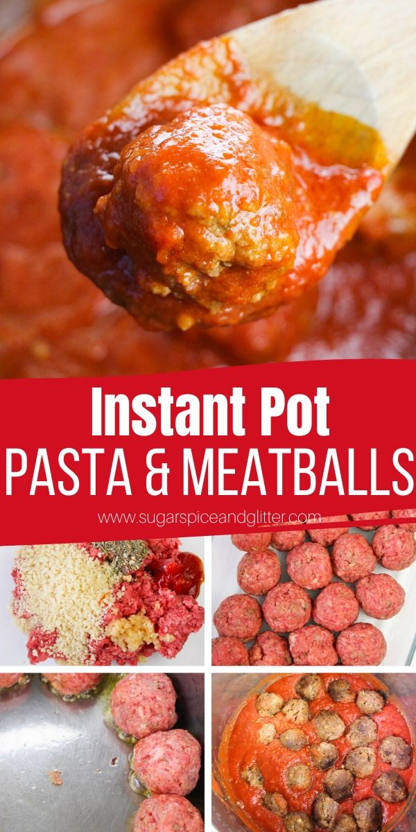 Simply the best Instant Pot Pasta and Meatballs recipe. Tender, juicy and flavorful Italian meatballs and a quick homemade sauce come together in just 15 minutes!