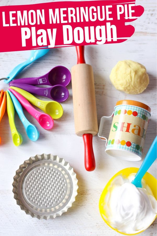 A fun bake shop inspired play dough activity, this Lemon Meringue Pie Play Dough uses a super simple lemon play dough and some simple kitchen materials to make a hands-on sensory play experience that teaches literacy, numeracy and fine motor skills while being a ton of fun!