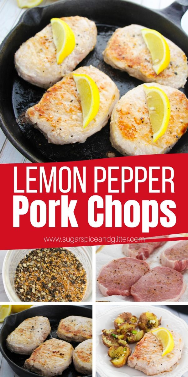 How to make lemon pepper pork chops - a delicious 4-ingredient meal the whole family will love! These juicy, flavorful pork chops are ready to serve in less than 15 minutes and can be grilled, baked or made in the skillet