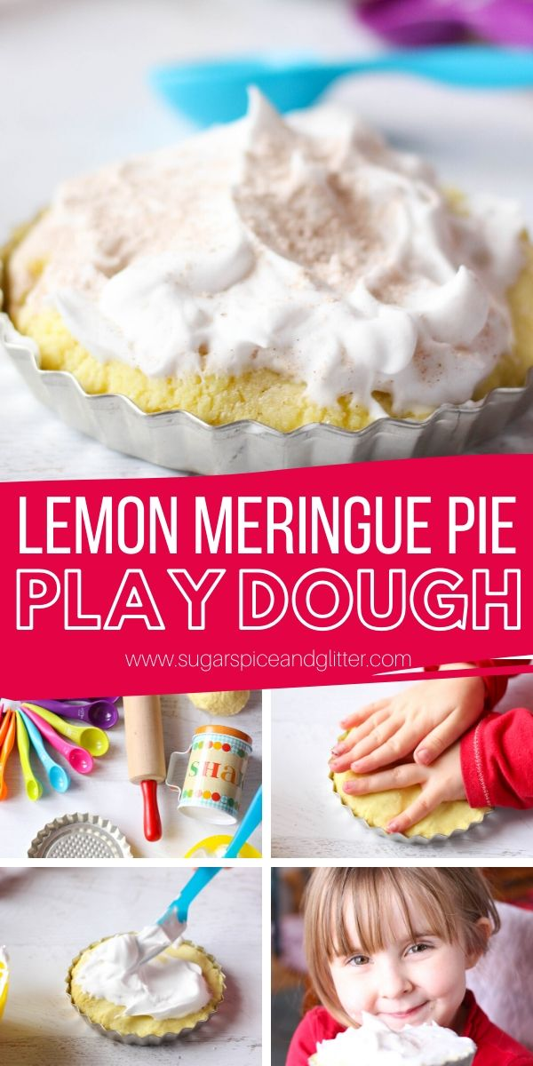 How to Make Lemon Meringue Pie Play Dough - a fun hands-on sensory experience for kids that teaches kitchen skills, literacy, numeracy, emotional intelligence AND builds fine motor skills