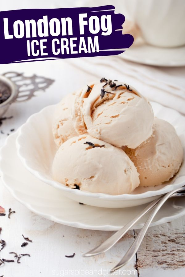 A flavorful no-churn Earl Gray Ice Cream inspired by a London Fog latte, this creamy, decadent homemade ice cream is unique and truly special