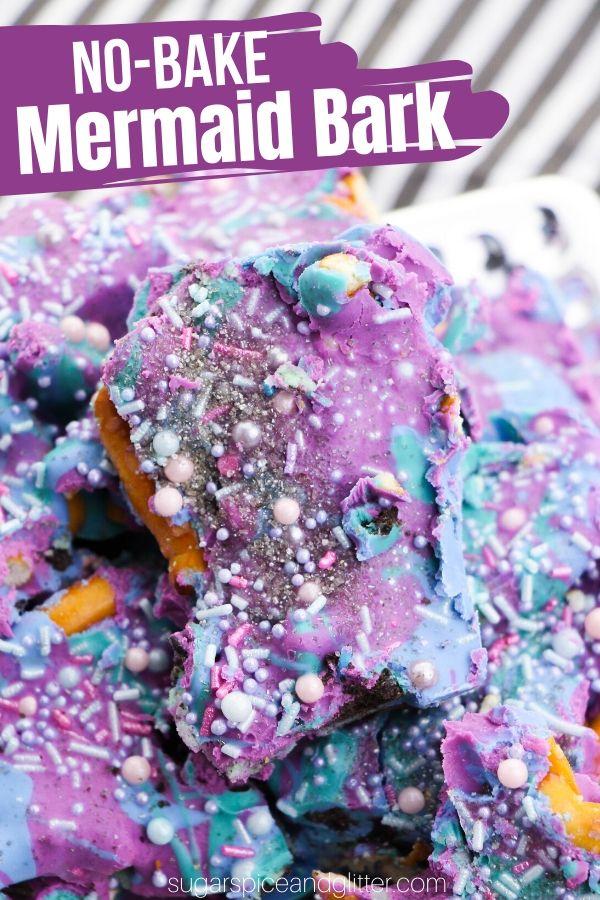 An easy no-bake mermaid dessert perfect for a mermaid birthday party, this Mermaid OREO Pretzel Bark is a fun recipe kids can help make