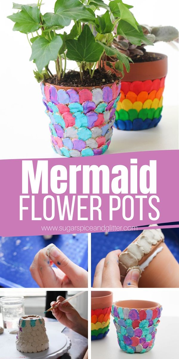 How to make a mermaid scale flower pot to add a bit of whimsy to your garden or windowsill. This simple garden craft for kids makes a gorgeous homemade gift, too!