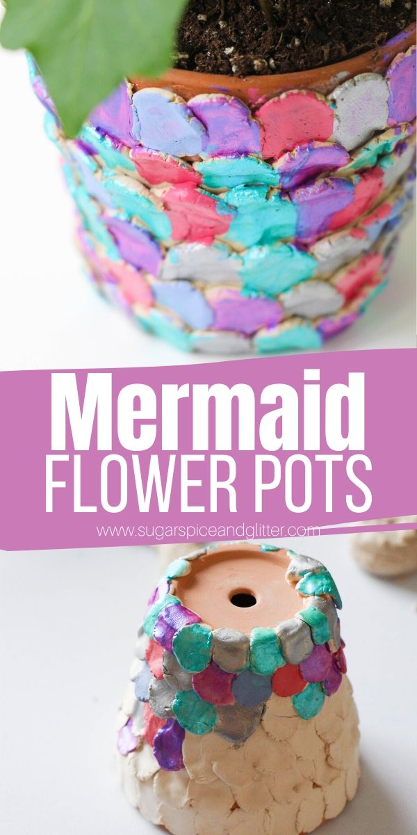 Magical Mermaid Flower Pots are a fun garden craft for kids to make using some clay, flower pots and a bit of paint. A great way to get kids excited about gardening - or a sweet homemade gift for the gardener in your child's life