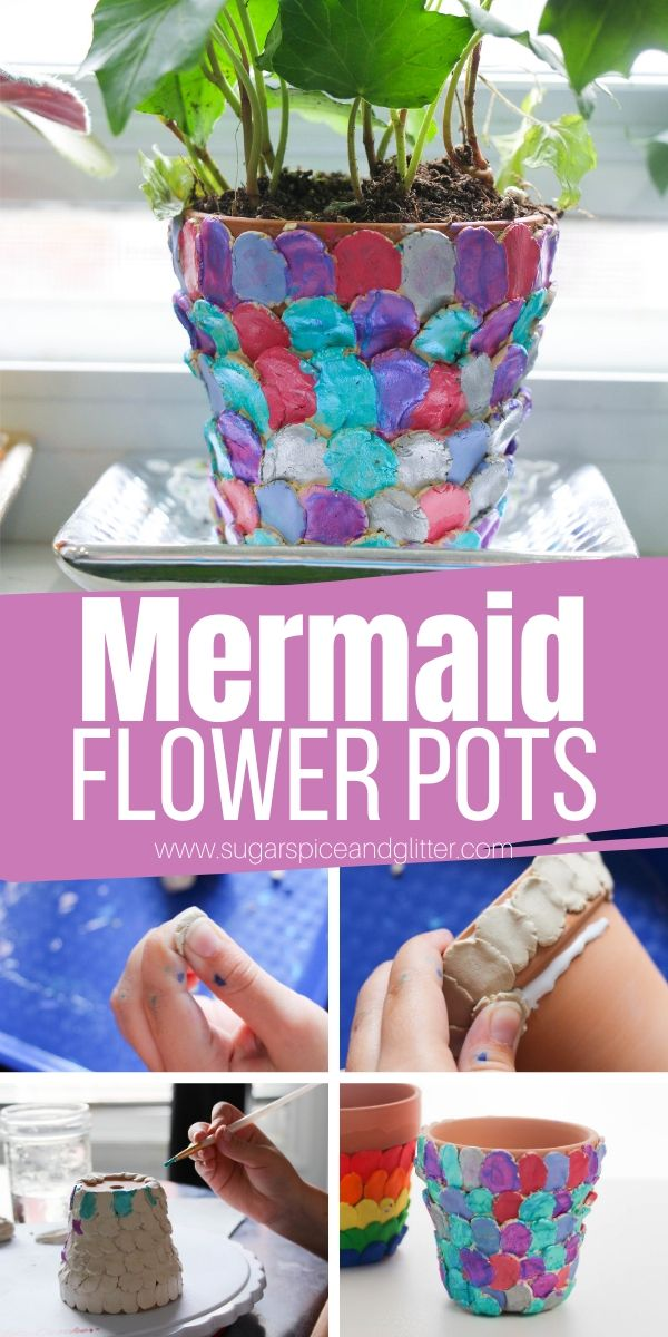 Kids will love making these super simple mermaid flower pots, a whimsical addition to a fairy garden or your kitchen windowsill
