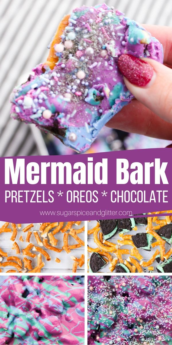 How to Make a Magical Mermaid OREO Pretzel Bark - perfect for a mermaid birthday party or mermaid movie night. So simple, kids can help make it