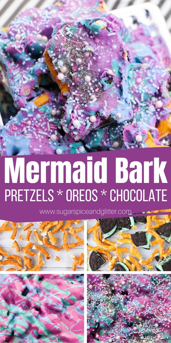 How to Make a Magical Mermaid OREO Pretzel Bark - perfect for a mermaid birthday party or mermaid movie night. So simple, kids can help make it!