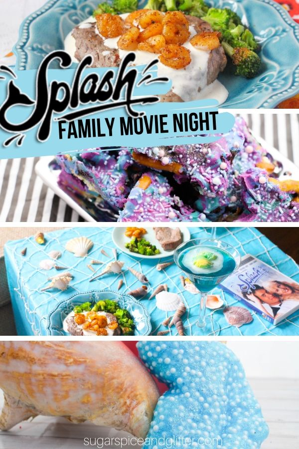 How to plan the ultimate Mermaid Movie Night for the whole family! Including a mermaid-inspired menu, easy mermaid decor and a mermaid craft to keep the kids happy while you're preparing the meal. Inspired by Disney's Splash