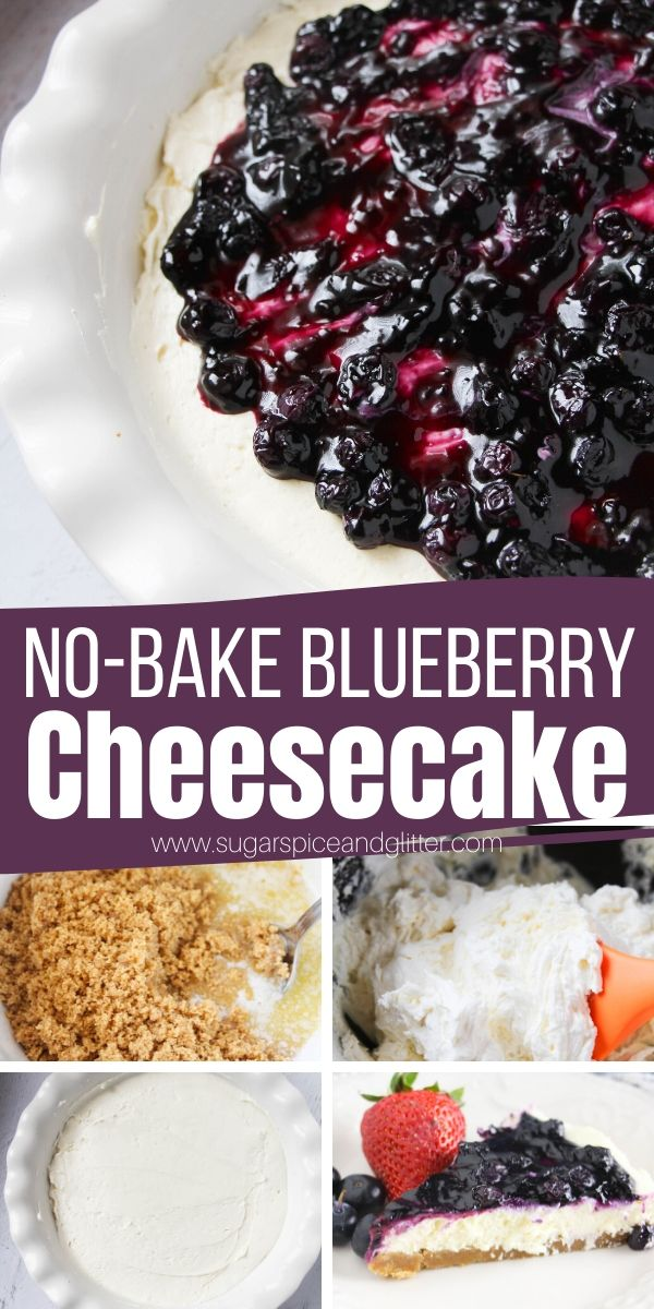 How to make the best No Bake Blueberry Cheesecake, with a rich and tangy cheesecake filling and homemade blueberry sauce. The perfect dessert when you want something indulgent yet light - summer BBQs, tailgating, potlucks - this summer dessert is perfect for all of them.