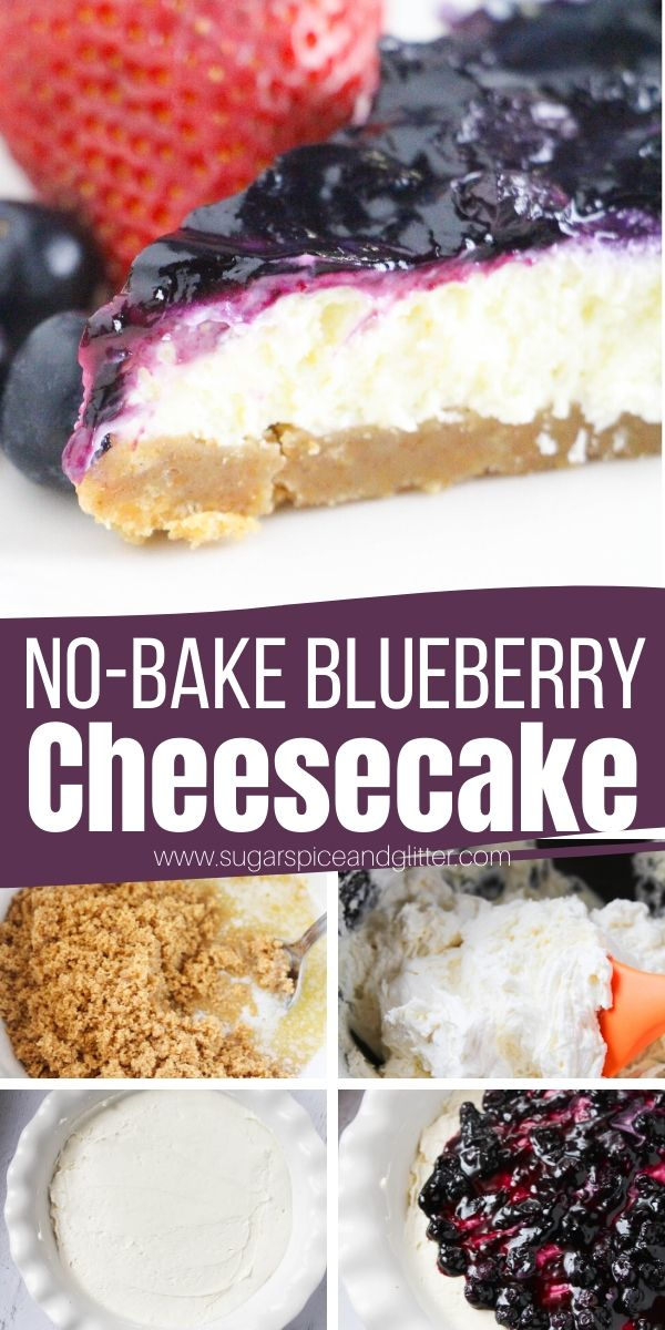 Decadent, rich and creamy no bake blueberry cheesecake with a homemade blueberry sauce topping. The perfect summer dessert for BBQs, tailgating or summer parties