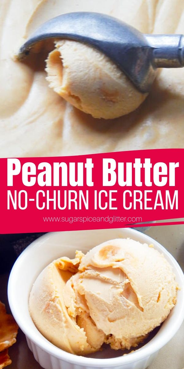 How to make peanut butter ice cream without a machine. This No Churn Peanut Butter Ice Cream is creamy, smooth and sweet - like a frozen scoop of PB! Serve on top of a brownie or chocolate cake for the ultimate peanut butter chocolate dessert